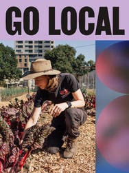 An image of a woman in a gardening hat tending to her small garden with a scroll label on top 'Go Local'.