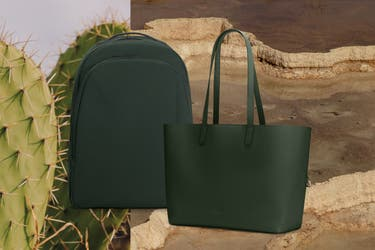 A green backpack and tote travel bag against a desertlike background and cactus on left side.
