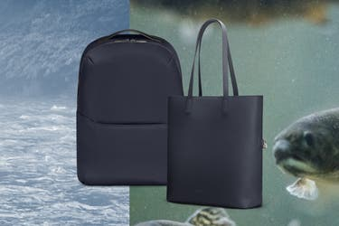 A navy Away backpack next to a navy Away leather tote on a fish inspired background.