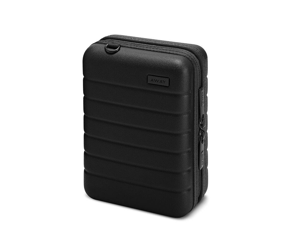 Hardsided mini suitcase displayed from the front in black.