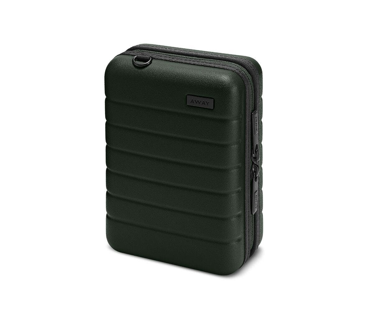 Hardsided mini suitcase displayed from the front in Green.