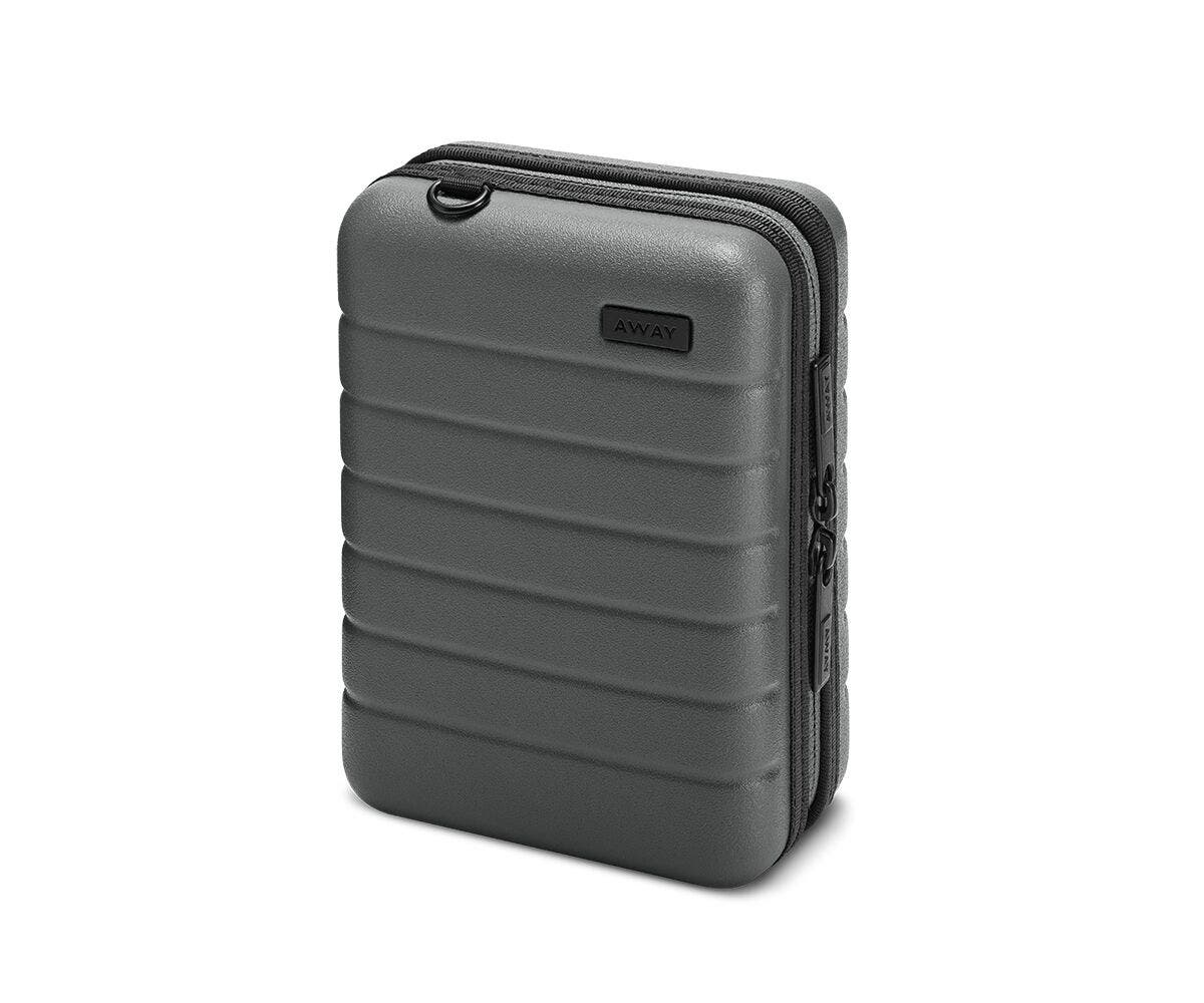 Hardsided mini suitcase displayed from the front in Asphalt.