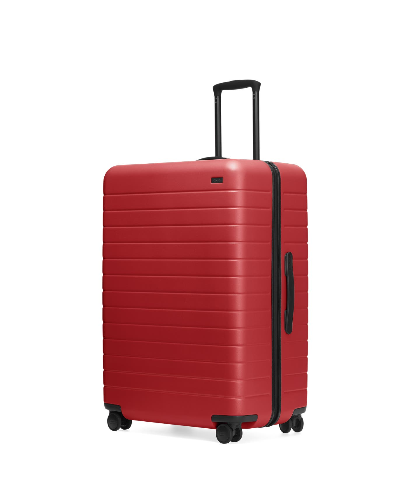 Red hardside Large with raised telescopic handles shown at an angle.