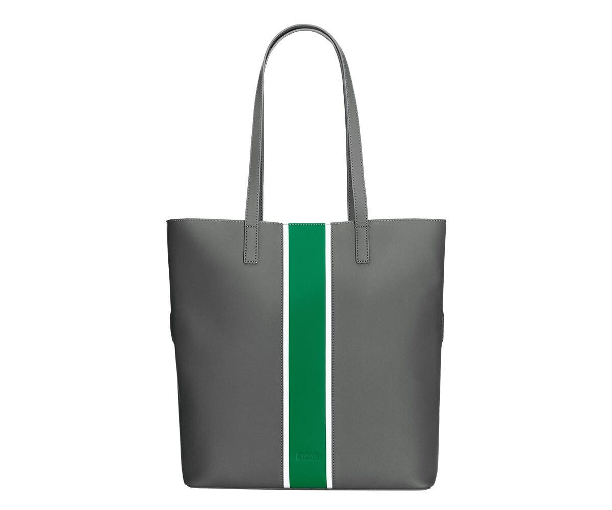 Away Longitude Tote bag from the Chalet Limited Edition Collection in Alpine grey with a green and white stripe.