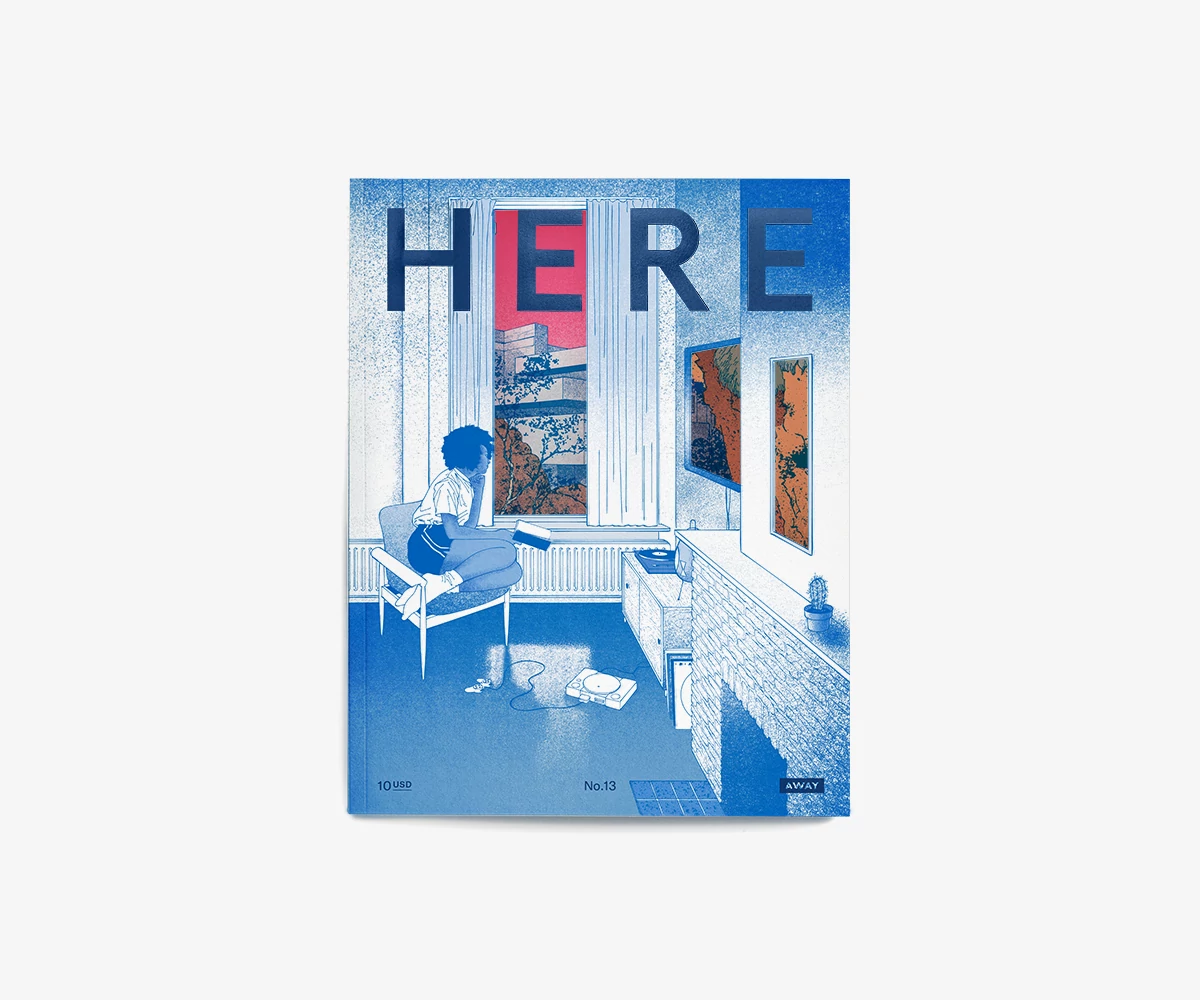 Here Magazine Issue 13 Cover - Drawing of a person looking outside a window