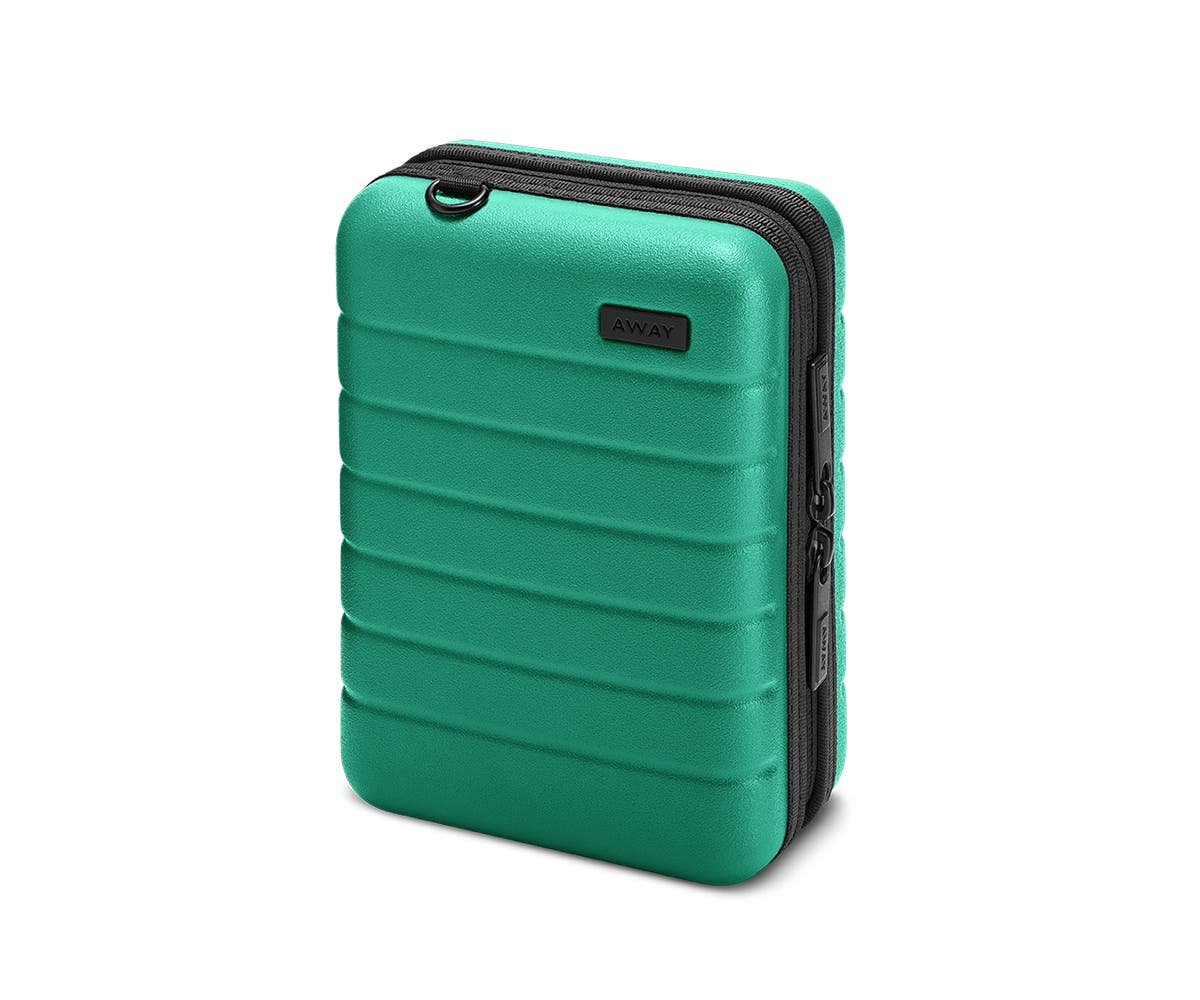 Hardsided mini suitcase displayed from the front in Sea-green.