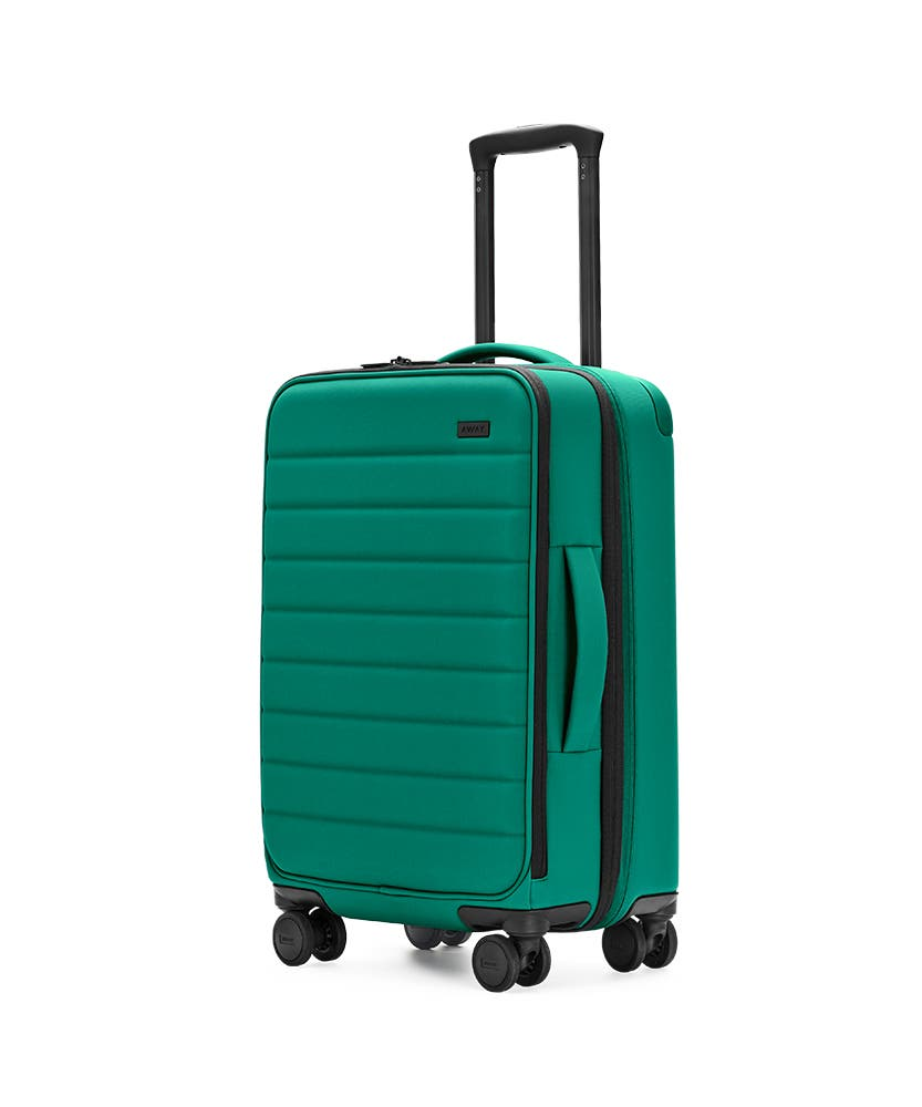 Sea-green Expandable Carry-On softside with raised telescopic handles shown at an angle.
