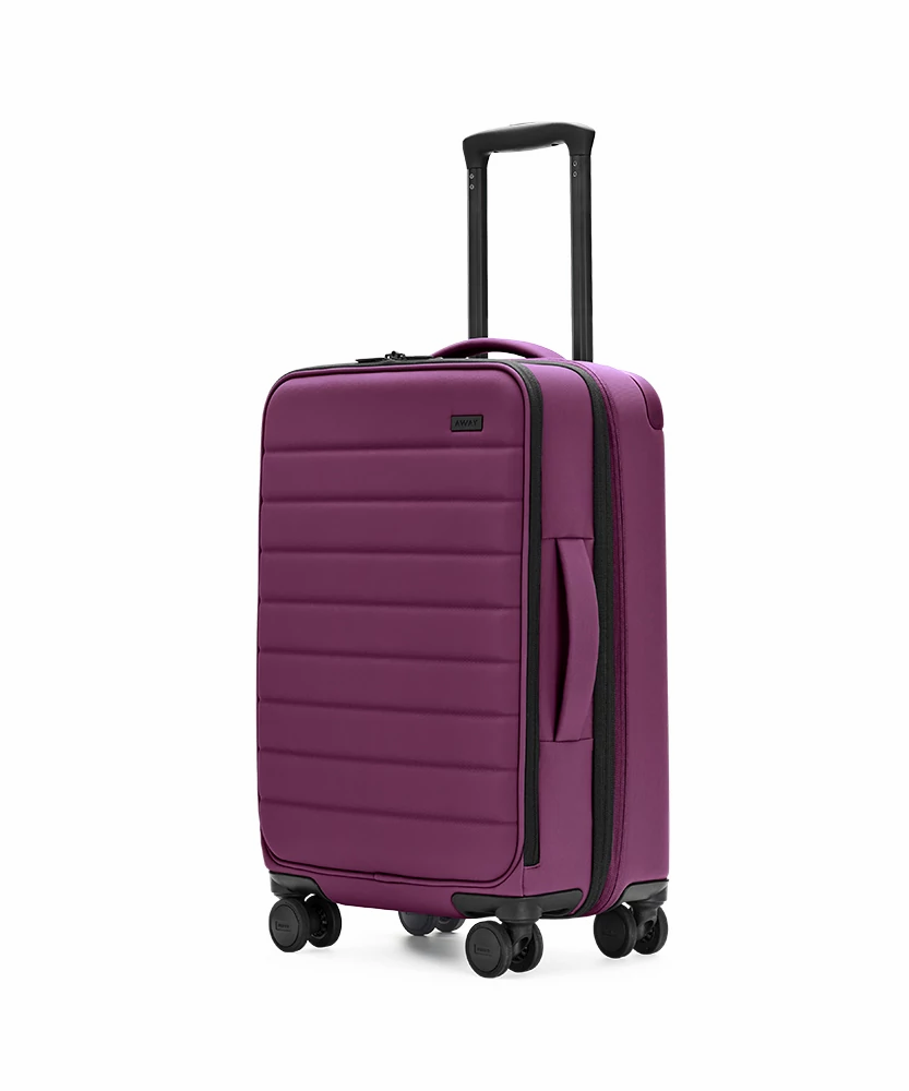 Plum Expandable Carry-On softside with raised telescopic handles shown at an angle.