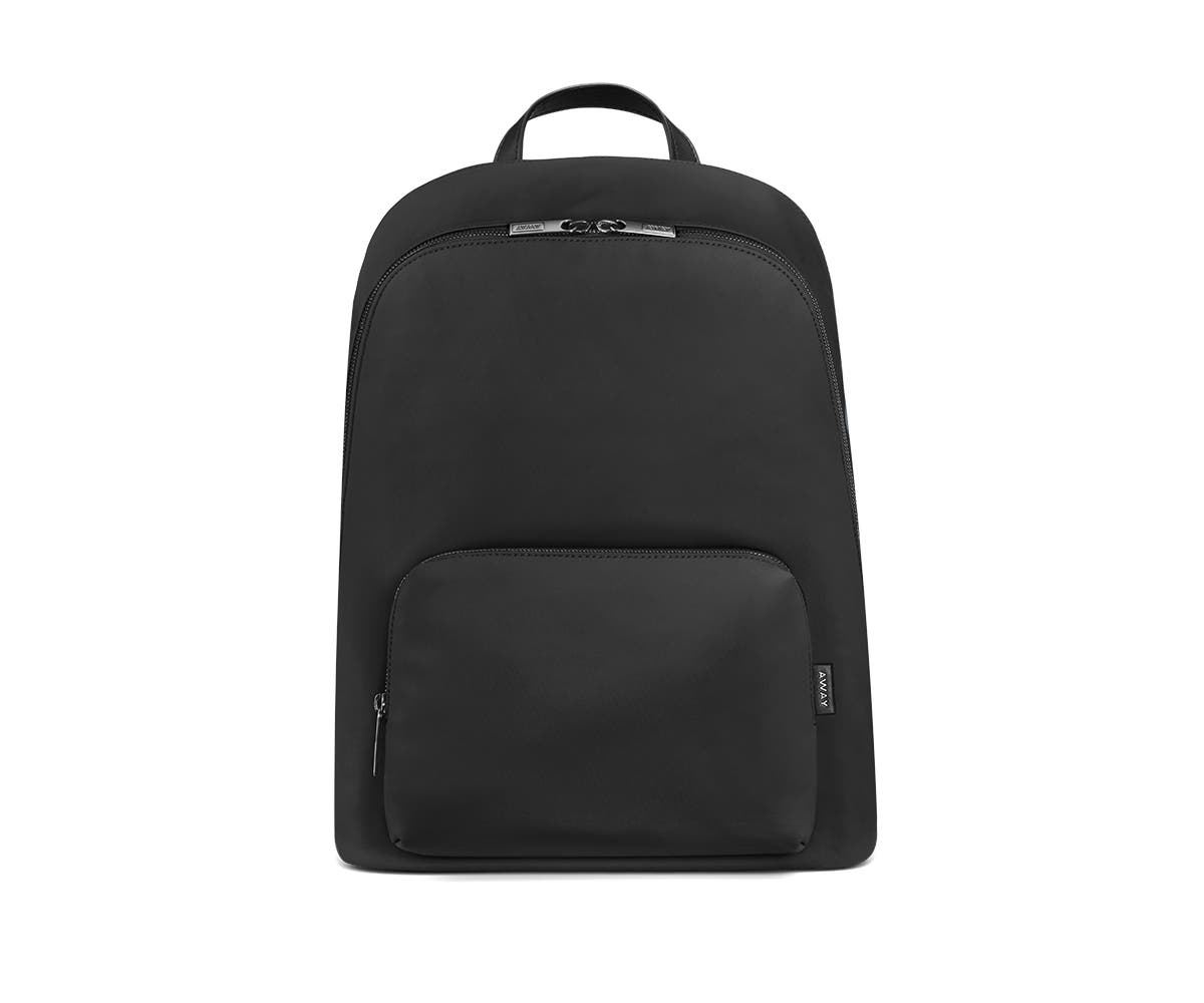 Front of a black backpack with two pockets one main and one small with zip.