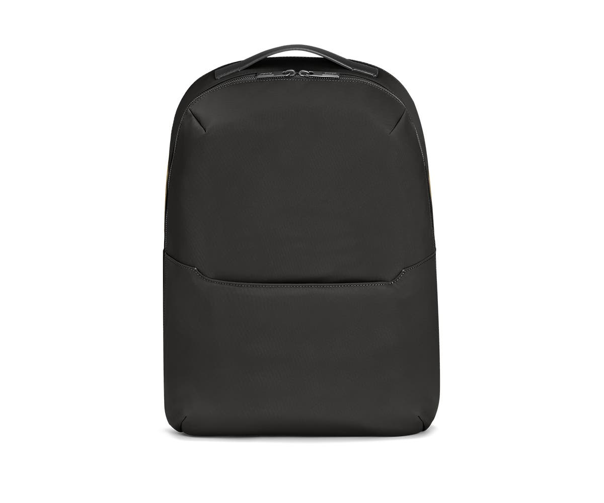 Front view of a black backpack.