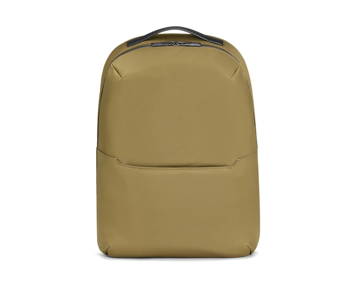 Front view of a olive backpack.