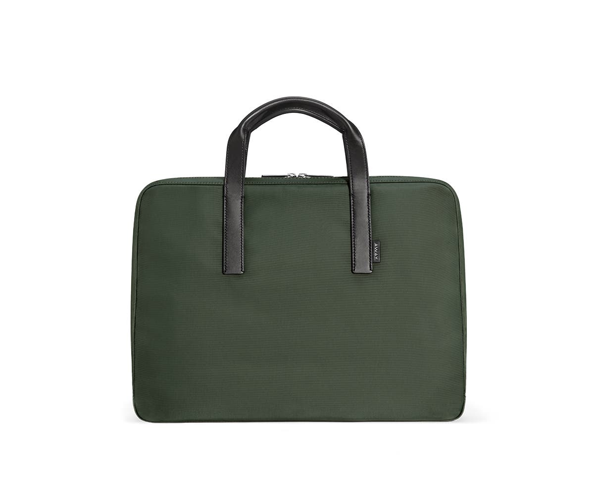 green laptop bag with raised handles in leather trim