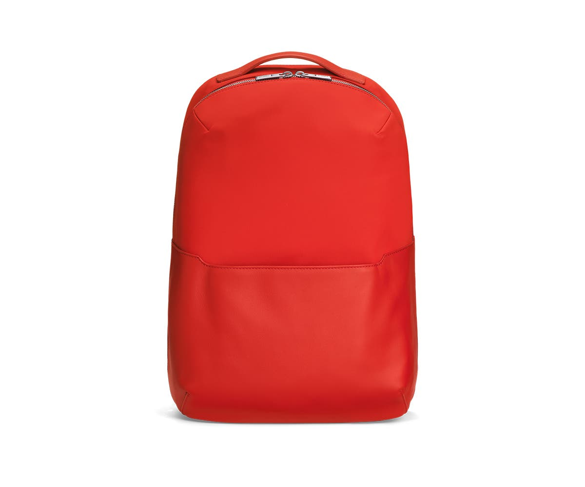 Front view of a crimson backpack.