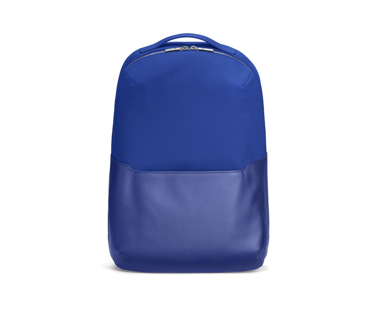 Front view of a cobalt backpack.