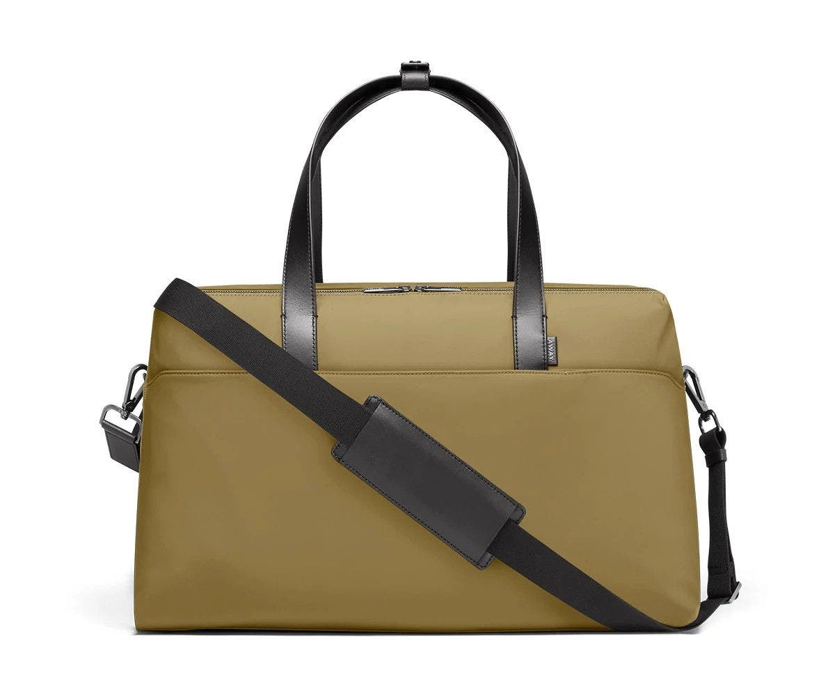 Large shoulder bag in moss with raised handles and shoulder strap across the bag.