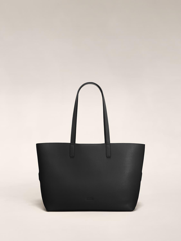 A black tote shoulder bag in leather.