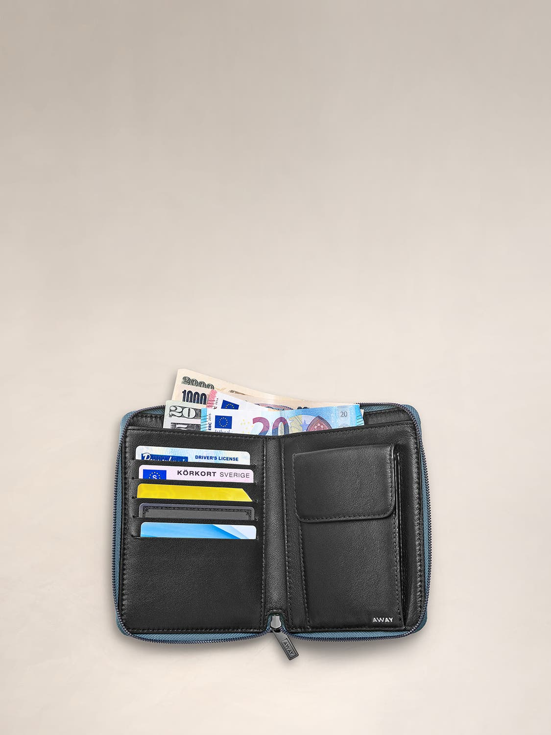 Inside view of a zip travel wallet with cards and cash organized in its pockets.