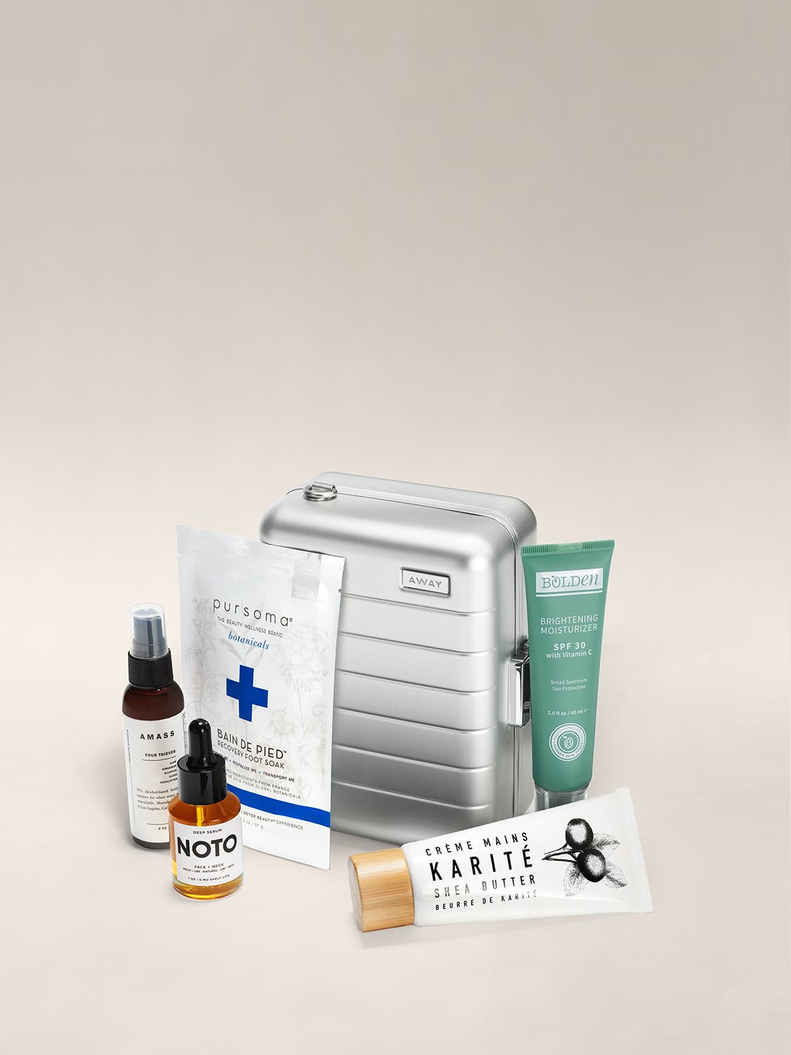The Bliss Set Mini shown with various products