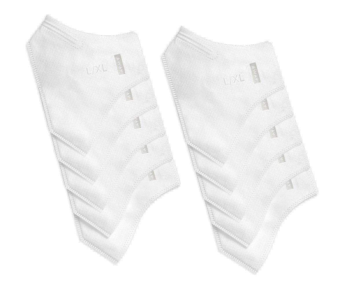Two packs of white replacement filters for reusable cloth face mask inserts.