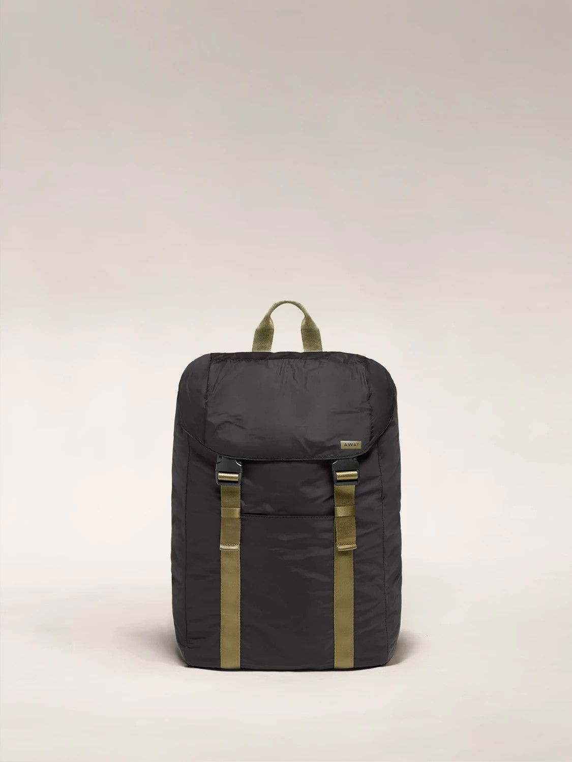 Front view of the Away packable backpack in the color black.