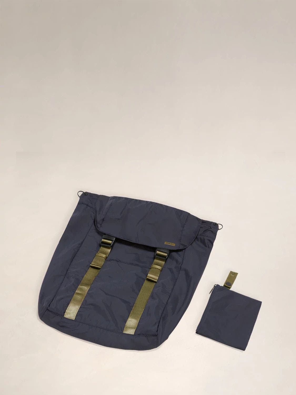 Flat view of the Away packable backpack in the color navy.