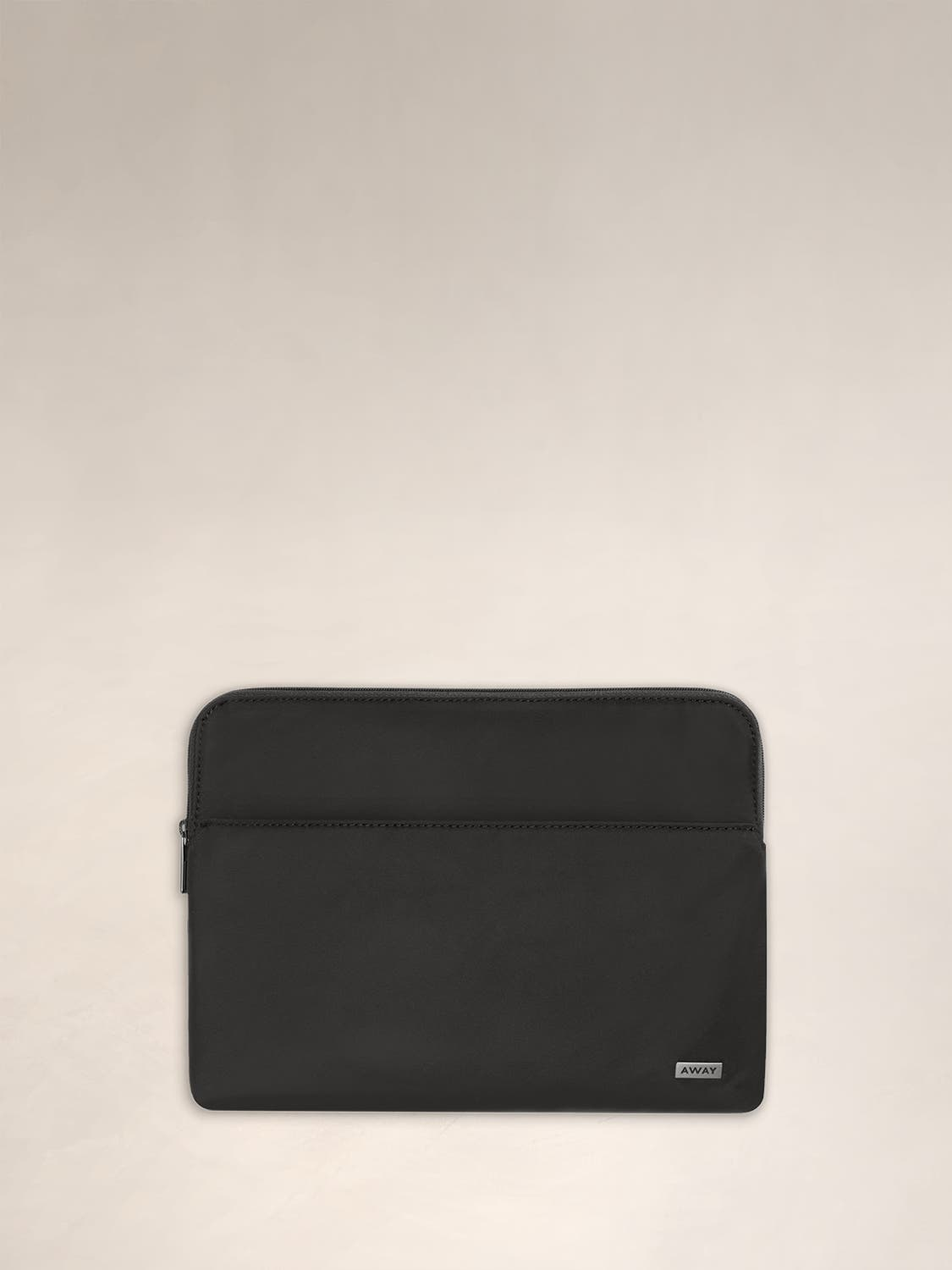 Front view of the Away Tablet Case in Black, featuring a front pocket for easy access to your items