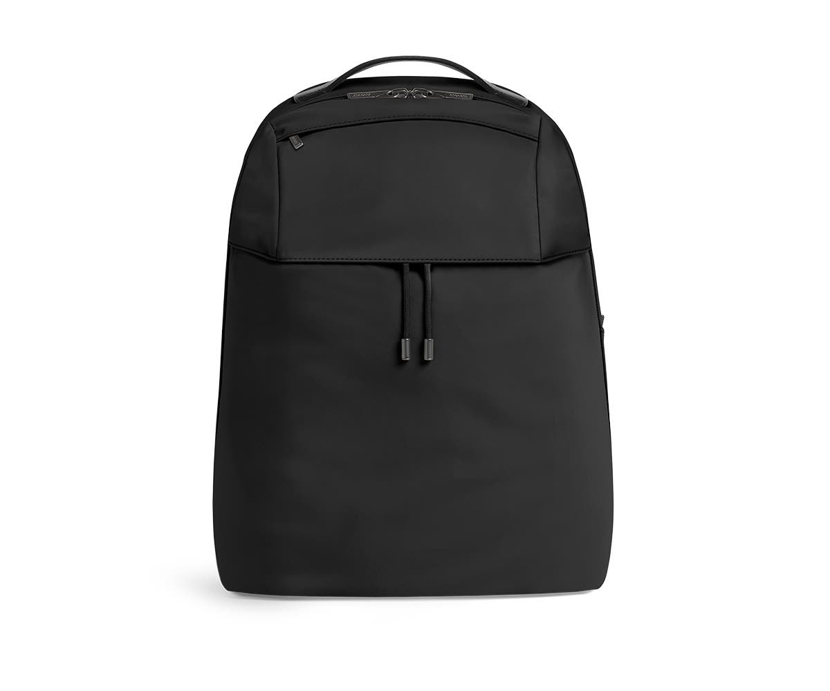 Front shot of black backpack with a front flap pocket.