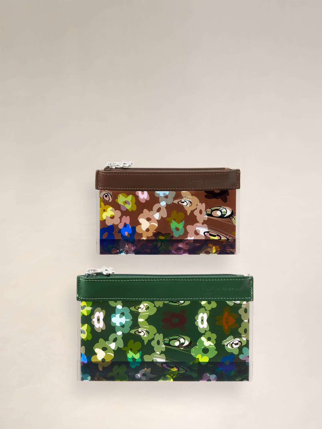 Two Travel Pouch Sets in small and large sizes, in green and brown shades with a custom floral pattern