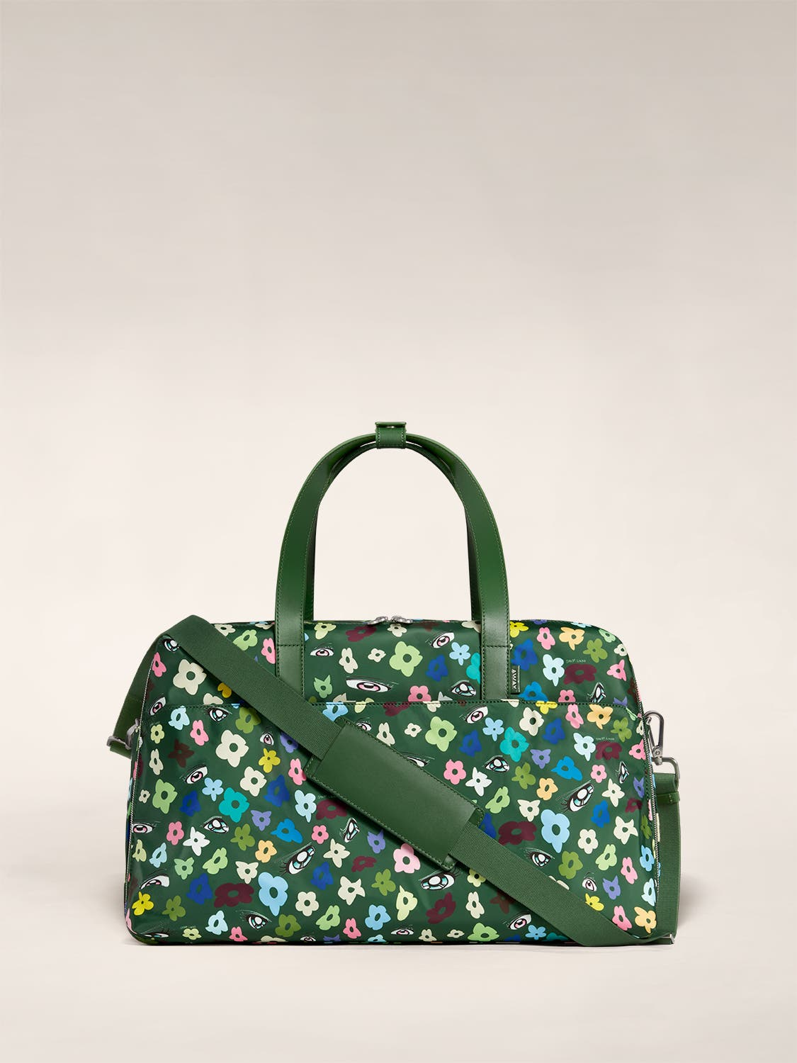 The Large Everywhere Bag by Sandy Liang in green floral print and a shoulder strap