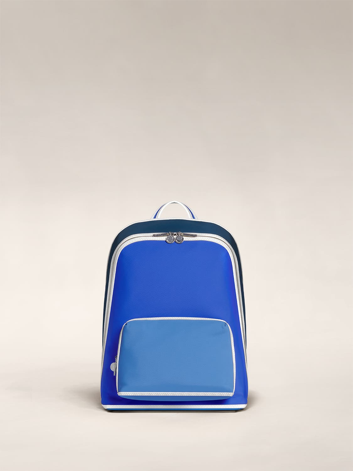 The Front Pocket Backpack by Ji Won Choi in blue geometric print