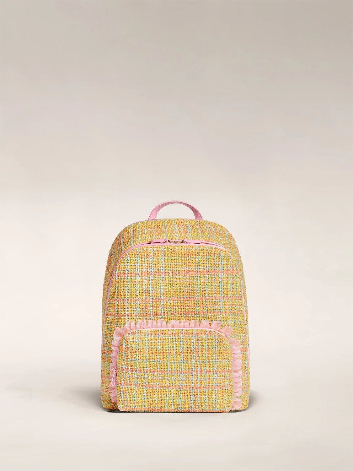 Front view of the Front Pocket Backpack by Tia Adeola in pink and yellow tweed with pink ruffle details