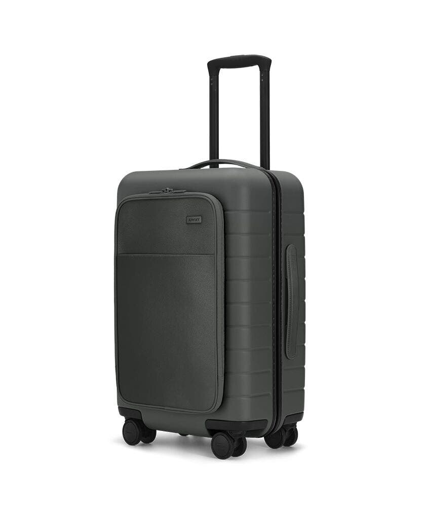 The Carry-On with Pocket in Asphalt shown at an angle with raised telescoping handle