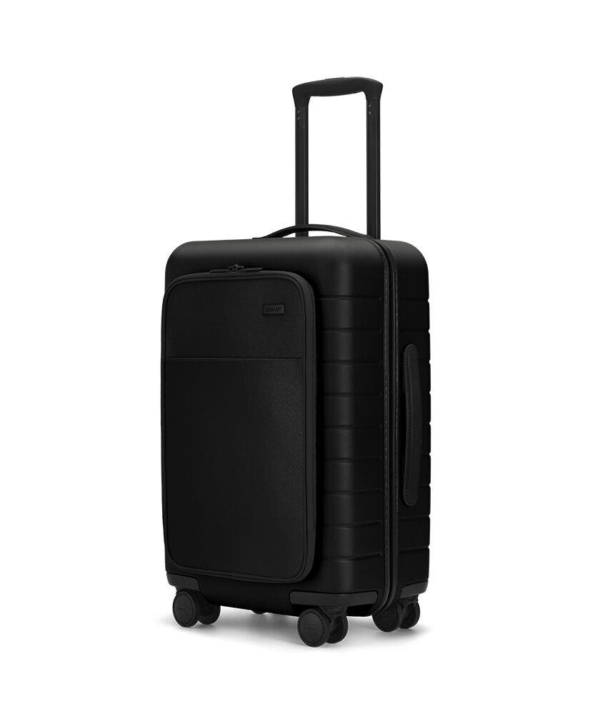 The Carry-On with Pocket in Black shown at an angle with raised telescoping handle
