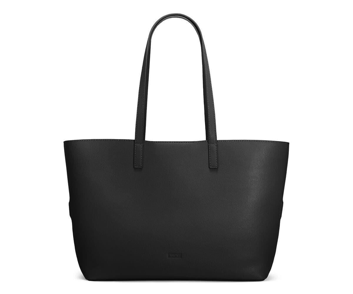 The Latitude Tote in Black leather